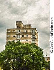 edifício apartamento, vista exterior