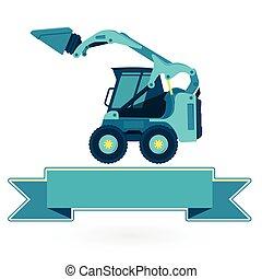 edifício azul, constrói, material, white., pequeno, cargas, cavador, estradas