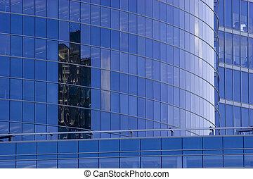 edifício azul, escritório incorporado