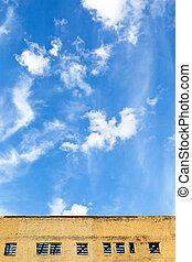 edifício azul, furbished, céu, acima