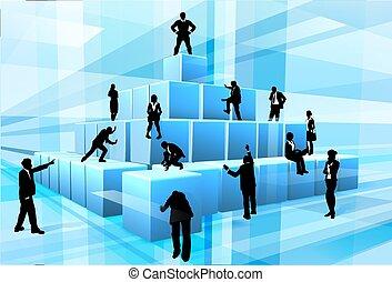 edifício bloqueia, pessoas negócio, equipe, silueta
