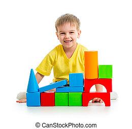 edifício bloqueia, tocando, criança