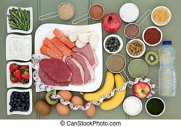 edifício corpo, alimento saúde, cobrança