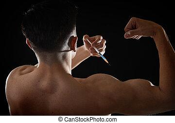edifício corpo, aumento, usando, esteróides, atlético, jovem, desportista, injetar, desempenho, siringa, ombro, desporto