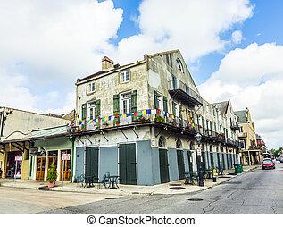 edifício histórico, em, a, quarto francês