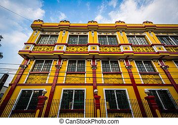 edifício histórico, em, intramuros, manila, a, filipinas.