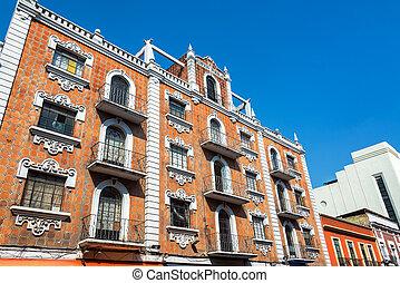 edifício histórico, em, puebla