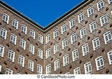 edifício histórico, fachada, em, hamburgo