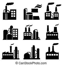 edifício industrial, e, planta poder