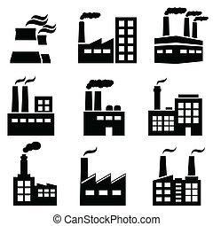 edifício industrial, fábrica, e, plantas poder