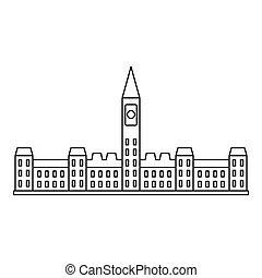 edifício parlamento, em, ottawa, ícone, esboço, estilo