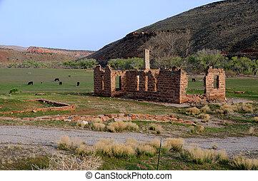edifício velho, ligado, shivwits, paiute, reserva índia, em, utah