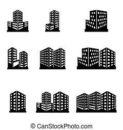 edifícios, ícones