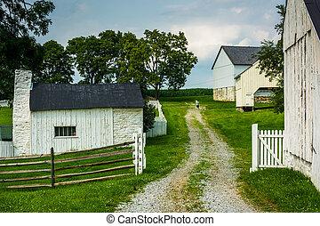 edifícios, antietam, fazenda, nacional, maryland.,...