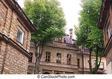 edifícios, antigas, tallinn, estónia