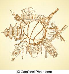 edifícios, basquetebol, ao redor, famosos, bola, arquitetura