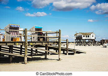 edifícios, cadeiras, peter-ording, st., alemanha, praia