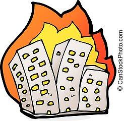 edifícios, caricatura, queimadura