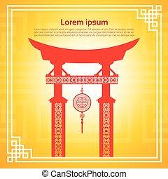 edifícios, chinês, coloridos, abstratos, ornamento, tradicional, bandeira