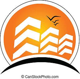 edifícios, com, sol, bens imóveis, logotipo