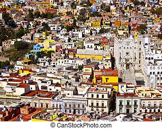 edifícios, de, muitas cores, méxico