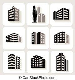 edifícios escritório, high-rise, ícones, cinzento, ...