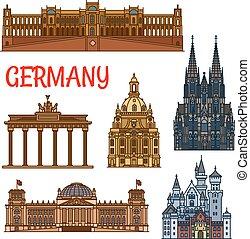 edifícios históricos, e, sightseeings, de, alemanha
