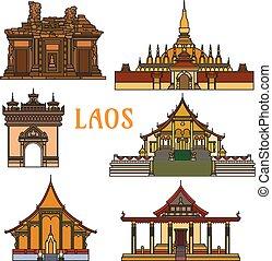 edifícios históricos, e, sightseeings, de, laos