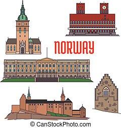 edifícios históricos, e, sightseeings, de, noruega