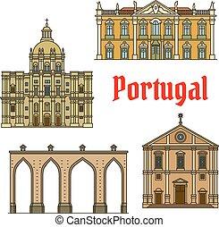 edifícios históricos, e, sightseeings, de, portugal