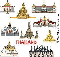 edifícios históricos, e, sightseeings, de, tailandia