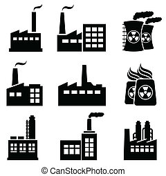 edifícios, industrial, fábricas