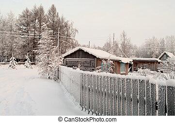 edifícios, inverno, estação, neve, árvores, village., russo, coberto