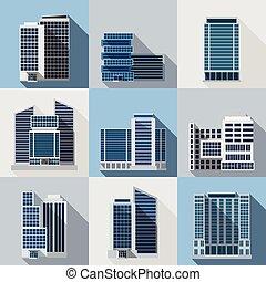 edifícios, jogo, escritório