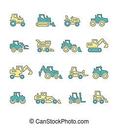 edifícios, jogo, máquinas, fazenda, ícones, tratores, veículos, construção, linha