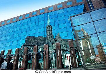 edifícios, modernos, vista, centro negócio