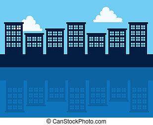 edifícios, reflexão