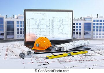 edifícios., residencial, laptop, ilustração, construção, desenhos, fundo, ferramentas, 3d