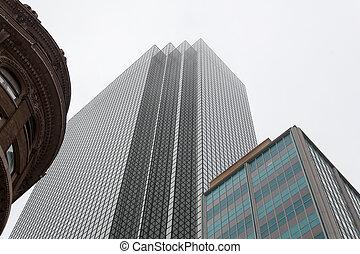 edifícios, três, eras