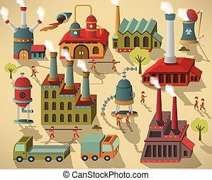 edifícios, -, trabalhadores, fábrica