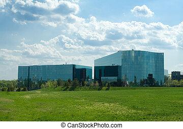 edifícios, unidas, escritório, suburbano, states., modernos, vidro, maryland, ondulado, ultra