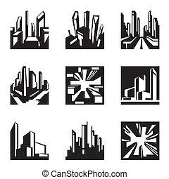 edifícios, vário, perspectiva
