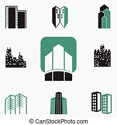edifícios, vetorial, ícones correia fotorreceptora, jogo