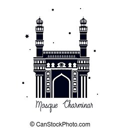 edification of mosque charminar and Indian independence day vector illustrator