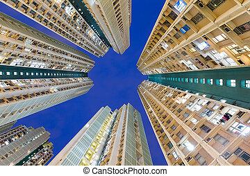 edificio, ángulo, bajo, exterior