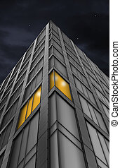 edificio, ángulo, oficina, bajo, noche, vista