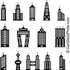 edificio, 2, blanco, conjunto, negro