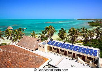 edificio, aéreo, méxico, solar, contoy, isla, vista, playa, panel