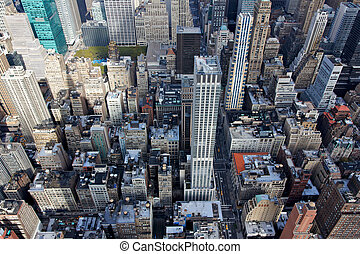 edificio, abajo, centro de la ciudad, estado, imperio,...