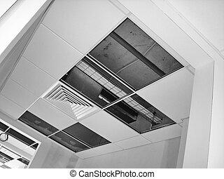 edificio, acabado, trabaja, techo